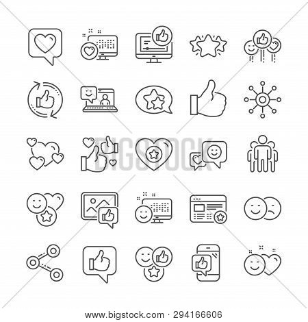 Social Media Line Icons. Set - Share Network, Rating And Social Links Linear Icons. Heart, Feedback