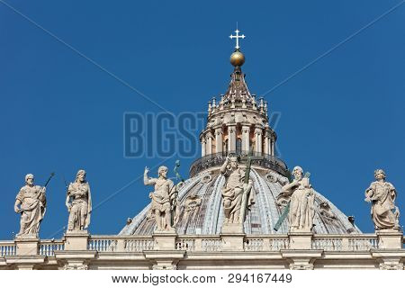 ROME, ITALY - AUGUST 17, 2018: Dome of St. Peter's basilica in Vatican city. The basilica is the most renowned work of Renaissance architecture and the largest church in the world
