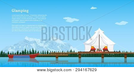 Picture Of Modern Comfortable Tent And Boat On Lake, Forest And Mountains On Background, Flat Style