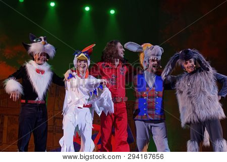 ST. PETERSBURG, RUSSIA - MARCH 25, 2019: Actors perform in the musical Town Musicians of Bremen during its press preview in Saint-Petersburg theater Music-Hall. The play is based on animated musical