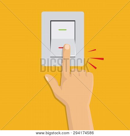 Isometric Icon. Hand Turning On The Light Switch. Toggle Switch. Electric Control Concept. Vector Gr
