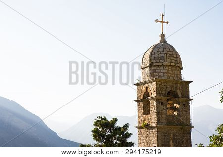 Venetian fortress of St. John and Chapel of Salvation of Virgin on Mount Pestingrad against picturesque bay. Kotor. Montenegro poster