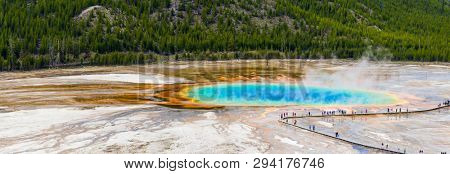 View of Grand Prismatic Spring from above. Yellowstone National Park, Wyoming, USA. Panorama