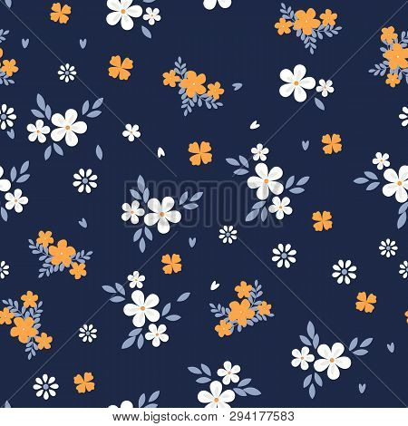 Vintage Floral Background. Seamless Vector Pattern For Design And Fashion Prints. Flowers Pattern Wi