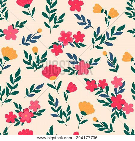 Vector Floral Pattern In Doodle Style With Flowers And Leaves. Gentle Colors, Spring Floral Backgrou