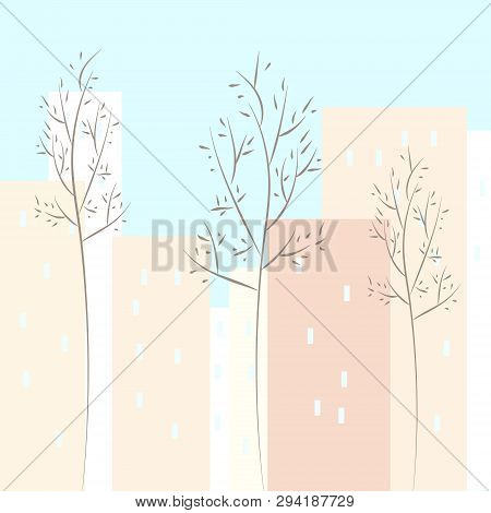 Nonlinear Houses Look Out Of The Picture. Flat Cartoon Style Vector Spring City Street. Tree Houses
