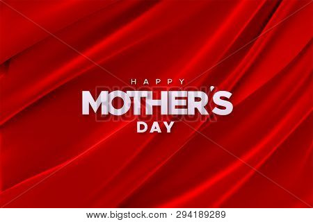 Happy Mothers Day. Vector Holiday Illustration Of White Paper Label On Red Velvet Fabric Background.