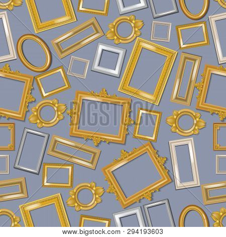 Vintage Realistic Frames Seamless Pattern. Picture Framing Of Different Size Vector Illustration. Bu