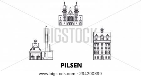 Czech Republic, Pilsen Line Travel Skyline Set. Czech Republic, Pilsen Outline City Vector Illustrat