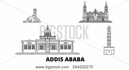 Ethiopia, Addis Ababa Line Travel Skyline Set. Ethiopia, Addis Ababa Outline City Vector Illustratio