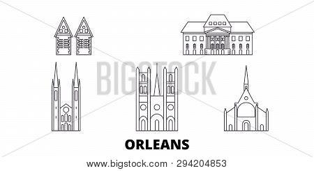 France, Orleans Line Travel Skyline Set. France, Orleans Outline City Vector Illustration, Symbol, T