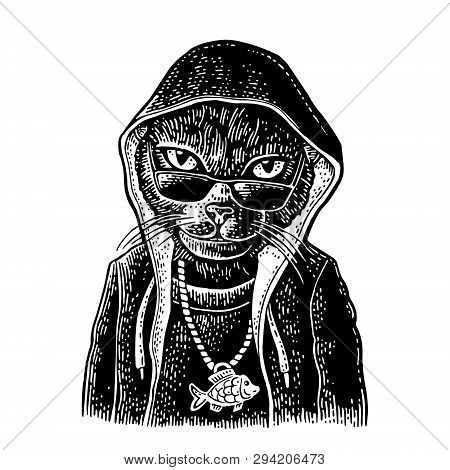 Cat Rapper Dressed In The Hoodie, Necklace With Fish. Vintage Engraving