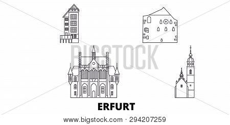 Germany, Erfurt Line Travel Skyline Set. Germany, Erfurt Outline City Vector Illustration, Symbol, T