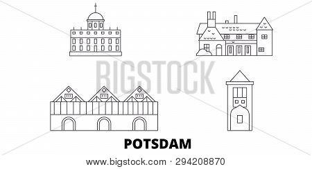 Germany, Potsdam line travel skyline set. Germany, Potsdam outline city vector illustration, symbol, travel sights, landmarks. poster