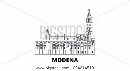 Italy, Modena Line Travel Skyline Set. Italy, Modena Outline City Vector Illustration, Symbol, Trave