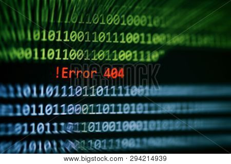 Technology Binary Code Number Data Alert ! Error 404 Message On Display Screen / Computer Network Sy