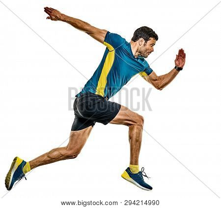 one caucasian handsome mature man running runner jogging jogger isolated on white background poster