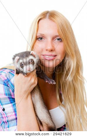 Girl with ferret isolated on white background poster