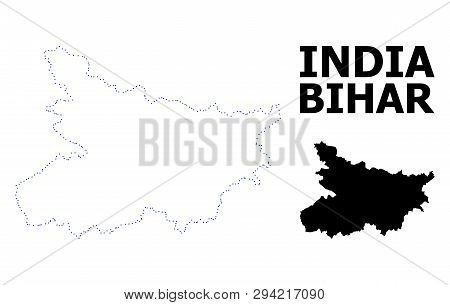 Vector Contour Map Of Bihar State With Caption. Map Of Bihar State Is Isolated On A White Background
