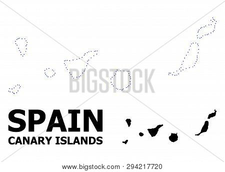 Vector Contour Map Of Canary Islands With Title. Map Of Canary Islands Is Isolated On A White Backgr
