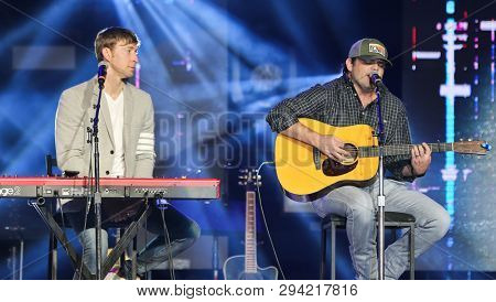 LAS VEGAS - APR 5: Rhett Akins (R) and Ashley Gorley attend the ACM Stories, Songs & Stars at the Marquee Ballroom at the MGM Grand Hotel & Casino on April 5, 2019 in Las Vegas, Nevada.