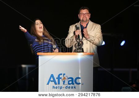 LAS VEGAS - APR 5: Hillary Scott (L) and Storme Warren attend the ACM Stories, Songs & Stars at the Marquee Ballroom at the MGM Grand Hotel & Casino on April 5, 2019 in Las Vegas, Nevada.