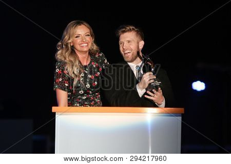 LAS VEGAS - APR 5: Carley Pearce (L) and Brandon Lay attend the ACM Stories, Songs & Stars at the Marquee Ballroom at the MGM Grand Hotel & Casino on April 5, 2019 in Las Vegas, Nevada.
