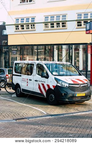 Amsterdam Netherlands April 8, 2019 View Of A Dutch Police Car Parked In The Streets Of Amsterdam In