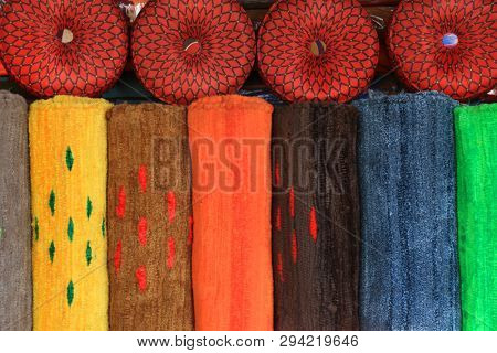 Colorful wool rugs of India