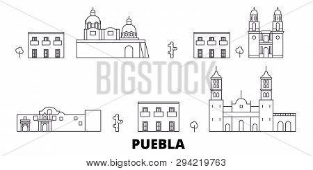 Mexico, Puebla Line Travel Skyline Set. Mexico, Puebla Outline City Vector Illustration, Symbol, Tra