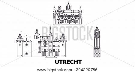 Netherlands, Utrecht Line Travel Skyline Set. Netherlands, Utrecht Outline City Vector Illustration,