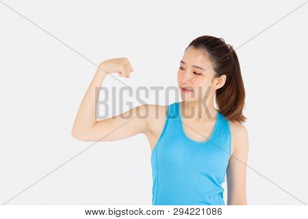 Beautiful Portrait Young Asian Woman Wear Sport Clothes Have Strong And Muscle With Health, Girl Sho