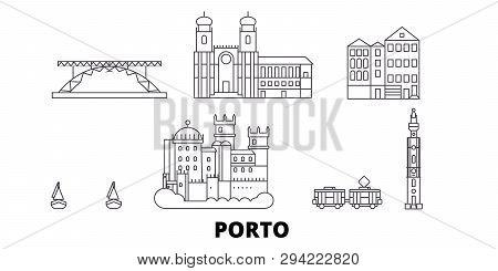 Portugal, Porto Line Travel Skyline Set. Portugal, Porto Outline City Vector Illustration, Symbol, T