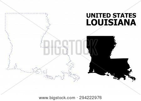 Vector Contour Map Of Louisiana State With Name. Map Of Louisiana State Is Isolated On A White Backg