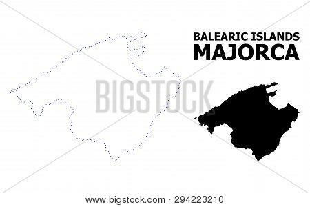 Vector Contour Map Of Majorca With Name. Map Of Majorca Is Isolated On A White Background. Simple Fl
