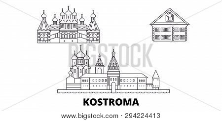 Russia, Kostroma Line Travel Skyline Set. Russia, Kostroma Outline City Vector Illustration, Symbol,