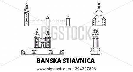 Slovakia, Banska Stiavnica Line Travel Skyline Set. Slovakia, Banska Stiavnica Outline City Vector I