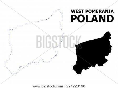 Vector Contour Map Of West Pomerania Province With Caption. Map Of West Pomerania Province Is Isolat