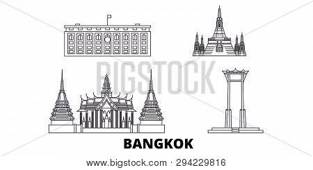 Thailand, Bangkok Line Travel Skyline Set. Thailand, Bangkok Outline City Vector Illustration, Symbo