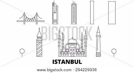 Turkey, Istanbul Line Travel Skyline Set. Turkey, Istanbul Outline City Vector Illustration, Symbol,