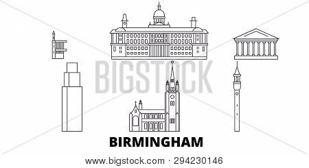 United Kingdom, Birmingham Line Travel Skyline Set. United Kingdom, Birmingham Outline City Vector I