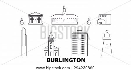 United States, Burlington Line Travel Skyline Set. United States, Burlington Outline City Vector Ill
