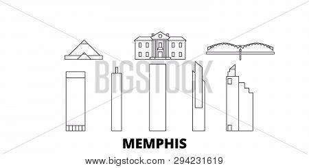 United States, Memphis Line Travel Skyline Set. United States, Memphis Outline City Vector Illustrat