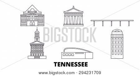 United States, Nashville Line Travel Skyline Set. United States, Nashville Outline City Vector Illus