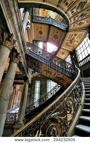 Mexico City, Mexico - March 10, 2019: Interior Of Museo Nacional De Arte (munal) Old Palace Of Commu