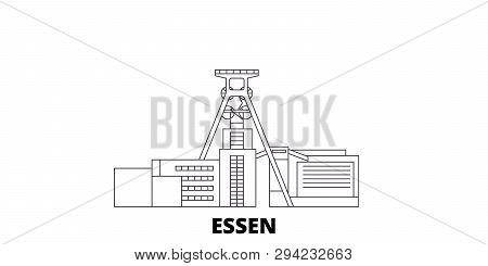 Germany, Essen, Zollverein Coal Mine Industrial Complex Line Travel Skyline Set. Germany, Essen, Zol