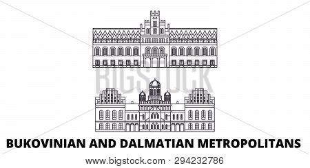 Ukraine, Bukovinian And Dalmatian Metropolitans Line Travel Skyline Set. Ukraine, Bukovinian And Dal
