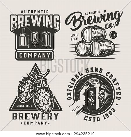 Vintage Beer Monochrome Logos Set With Brewing Equipment Wooden Barrels Hop Cones Hand Holding Beer