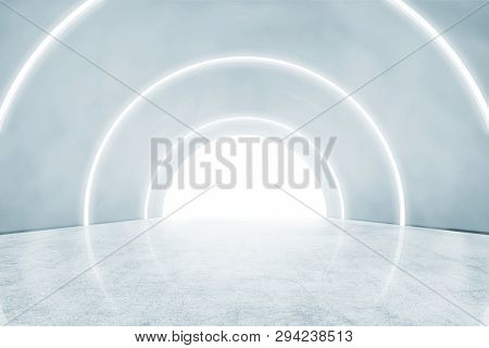 Abstract Wall With White Lights On The Modern Corridor