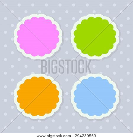Vector Illustration Of Four Colorful Season Stickers Stylized As Tree Crown With Scalloped Edges
